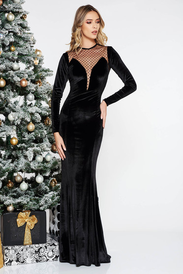 Black occasional long mermaid velvet dress from with long sleeves