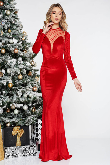 Red occasional long mermaid velvet dress from tulle long sleeved