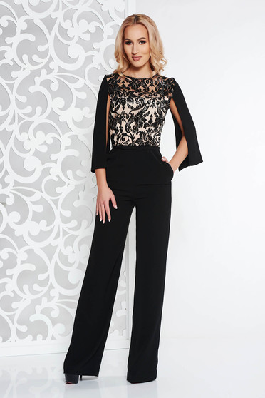 Black occasional jumpsuit flaring cut slightly elastic fabric with sequin embellished details with cut-out sleeves