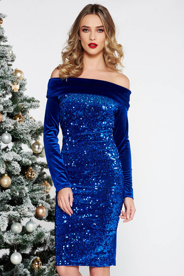 Artista blue occasional dress with tented cut from velvet with sequins on the shoulders