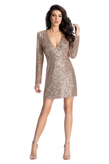 Ana Radu gold luxurious dress with straight cut with sequins with v-neckline