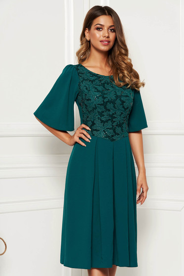 Darkgreen occasional cloche dress slightly elastic fabric with inside lining with sequin embellished details