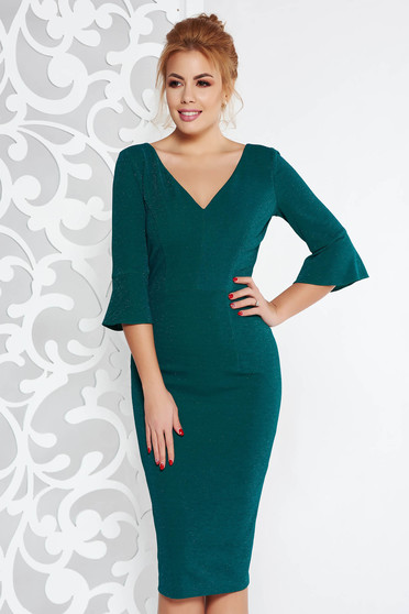 Darkgreen elegant midi pencil dress from elastic fabric with inside lining with lame thread