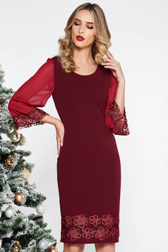 Burgundy elegant midi pencil dress with sequin embellished details slightly elastic fabric