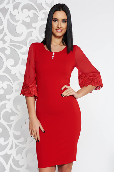 Red elegant midi pencil dress slightly elastic fabric with lace details with crystal embellished details