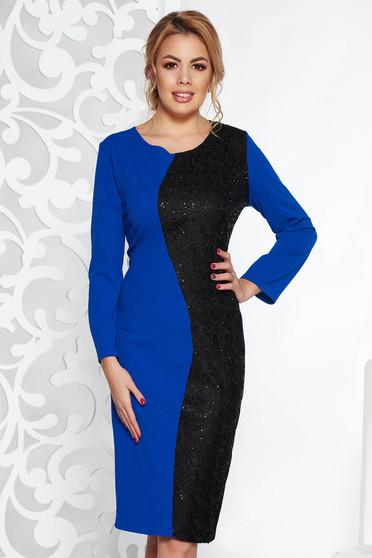 Blue elegant midi dress slightly elastic fabric with sequin embellished details