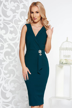 PrettyGirl darkgreen occasional midi pencil dress slightly elastic fabric with embellished accessories