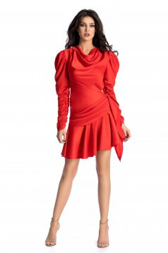 Ana Radu red luxurious asymmetrical dress from satin fabric texture with puffed sleeves with ruffle details