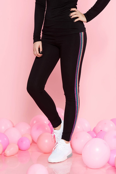 Top Secret black casual cotton tights with tented cut with medium waist