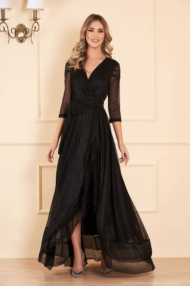 Artista black occasional dress from shiny fabric with lame thread with inside lining accessorized with tied waistband