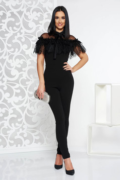 PrettyGirl black occasional jumpsuit with tented cut slightly elastic fabric with lace details