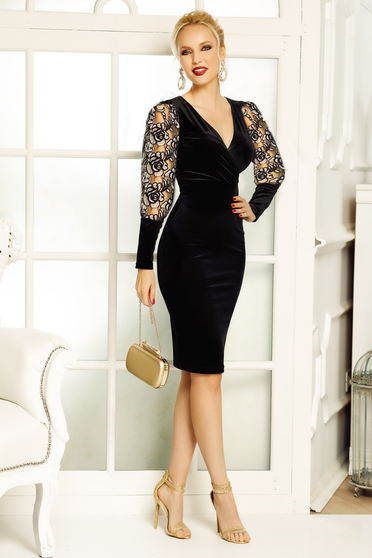 Fofy black occasional midi pencil velvet dress with v-neckline