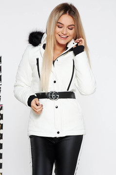 White casual jacket from ecological leather with inside lining with faux fur accessory