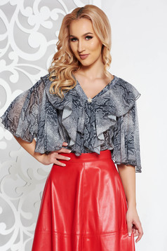 PrettyGirl grey elegant flared women`s blouse airy fabric with animal print with v-neckline