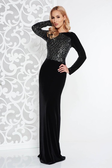 Black occasional long cloche dress velvet with sequins
