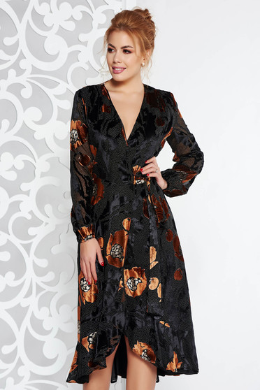 Brown elegant wrap around dress from velvet fabric with inside lining with ruffles at the buttom of the dress