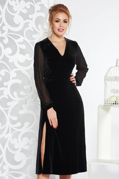Black occasional velvet cloche dress with inside lining with veil sleeves