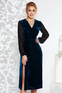 Darkgreen occasional velvet cloche dress with inside lining with veil sleeves