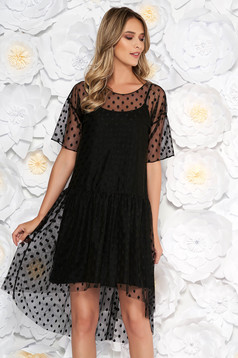 Black clubbing dress flared from tulle with dots print with inside lining
