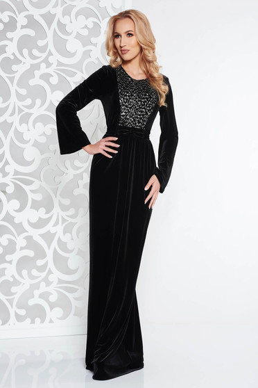 Black occasional cloche velvet dress with sequins