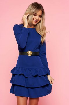 Blue clubbing dress slightly elastic fabric with tented cut accessorized with belt