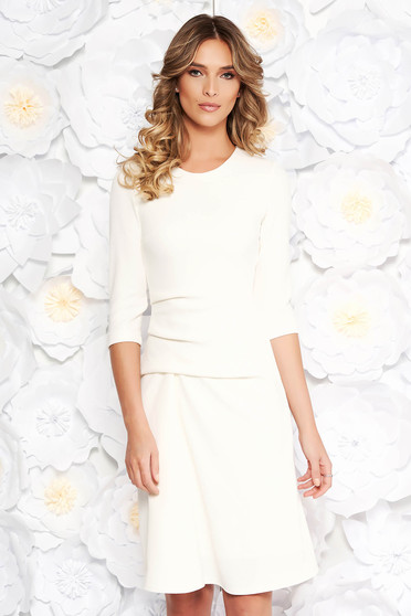 StarShinerS white daily midi dress slightly elastic fabric with inside lining long sleeve