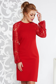 StarShinerS red elegant flared midi dress slightly elastic fabric with laced sleeves