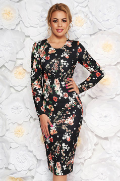 StarShinerS black daily midi dress with tented cut slightly elastic fabric with floral print