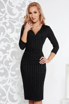StarShinerS black occasional midi pencil dress slightly elastic fabric with inside lining with glitter details