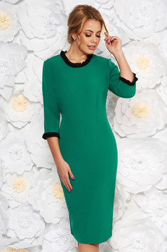 StarShinerS green dress office midi with tented cut slightly elastic fabric with ruffle details