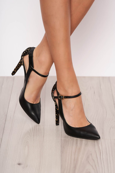 Black elegant shoes natural leather front and sideways cut-out design