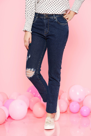 Top Secret blue skinny cotton jeans with medium waist with pockets
