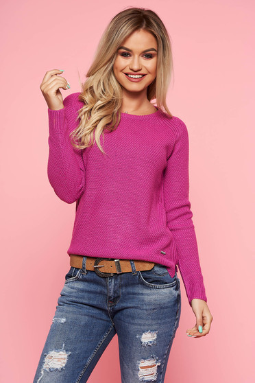 Top Secret purple casual tented sweater knitted fabric long sleeved