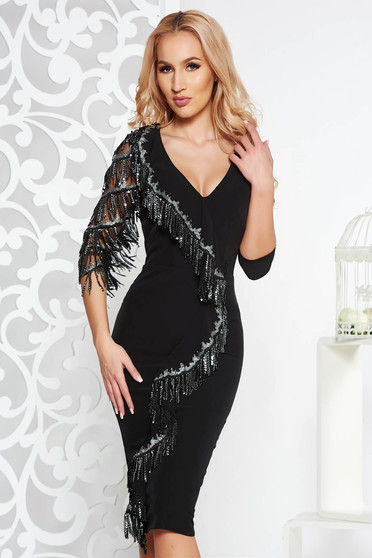 Black occasional midi pencil dress slightly elastic fabric with sequin embellished details with fringes with inside lining