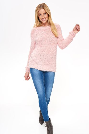 Top Secret pink casual flared sweater from fluffy fabric long sleeved