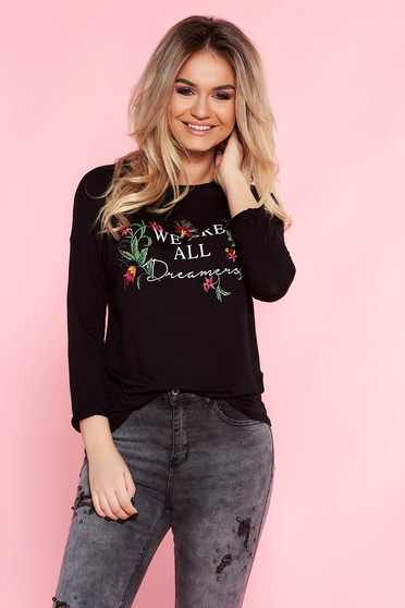 Top Secret black casual flared texted women`s blouse