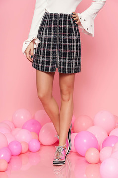 Top Secret darkblue skirt casual high waisted from non elastic fabric plaid fabric with inside lining