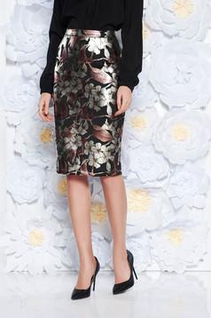 StarShinerS black skirt elegant midi pencil high waisted slightly elastic fabric with metallic aspect