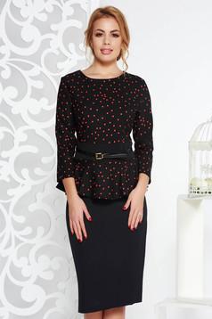 Black elegant pencil dress frilled slightly elastic fabric accessorized with belt
