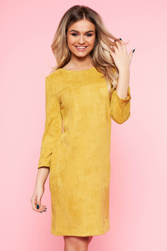Top Secret yellow daily dress with straight cut from velvet fabric with 3/4 sleeves