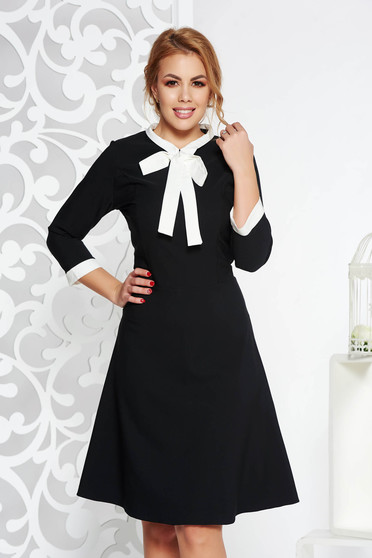 Black midi office dress flexible thin fabric/cloth