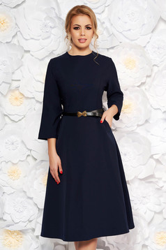 Darkblue office cloche dress slightly elastic cotton with pockets accessorized with belt