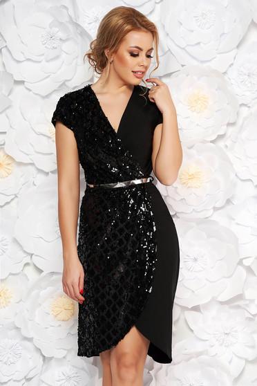 Black occasional dress with v-neckline slightly elastic cotton with sequin embellished details