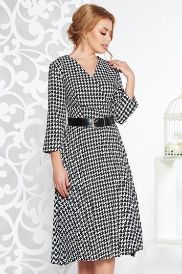 Elegant cloche folded up dress slightly elastic fabric accessorized with belt black