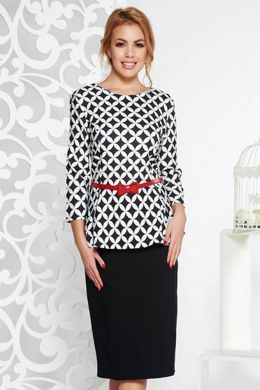 Black elegant dress slightly elastic cotton with frilled waist accessorized with belt