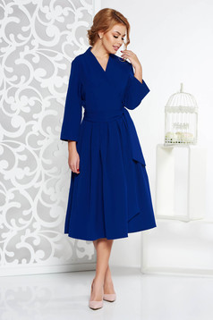 Blue elegant cloche dress nonelastic cotton with v-neckline midi