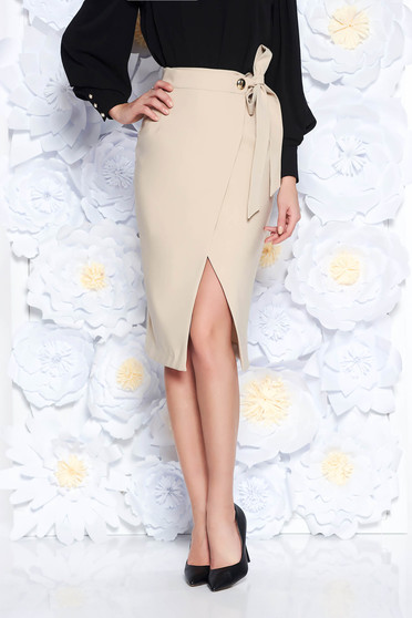 PrettyGirl cream office high waisted pencil skirt slightly elastic fabric wrap around accessorized with tied waistband