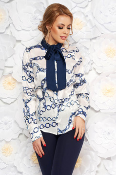 PrettyGirl white office flared women`s blouse from satin fabric texture with graphic details