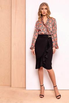 PrettyGirl black skirt elegant midi pencil high waisted slightly elastic fabric with ruffle details