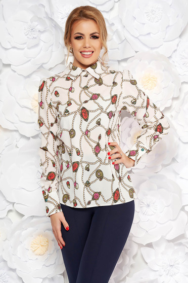 PrettyGirl white elegant flared women`s blouse airy fabric